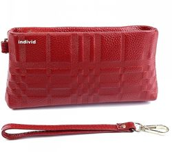 Кожаный клатч красный. женское кожаное портмоне женский кошелек косметичка