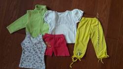 Пакет вещей на девочку. Размер 104-110. Кофта, футболка, майка, шорты, брид