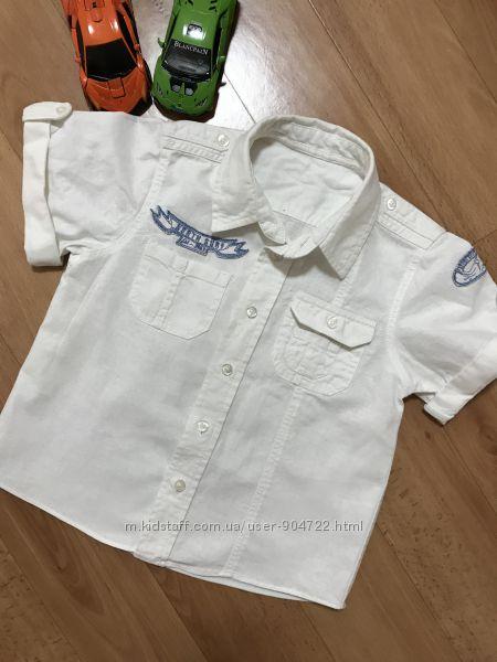 Белая льняная рубашка с коротким рукавом нарядная лён на мальчика 1, 5-2, 5