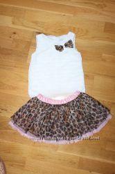 Фирменный леопардовый комплект, юбка пачка  маечка