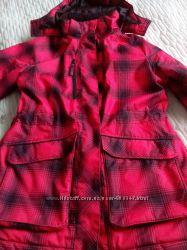 Куртка  зимняя красная в черную клетку, размер 48