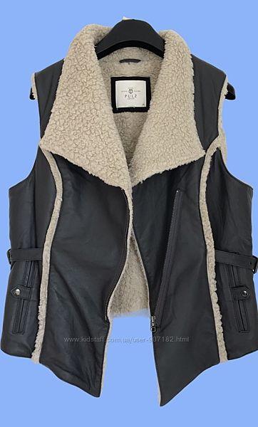 Кожаная куртка косуха жилетка на цигейке PULZ JEANS.