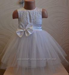 Пышное белое платье на утренник, день рождения
