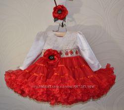 Нарядное платье маки с рукавом, в украинском стиле