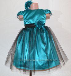 Нарядное стильное бирюзовое платье