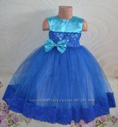Яркое синее платье для девочки  праздничное на день рождения и выпускной