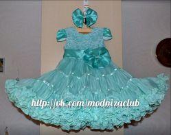 Пышное платье с кружевом и коротким рукавом