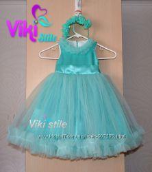Нарядное мятное платье для девочки