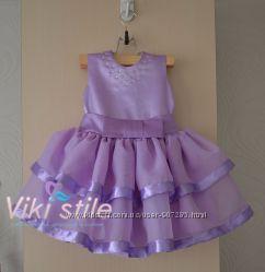 Нарядное платье с лентами сирень