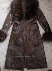 Кожаное пальто 48 р-р