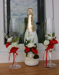 оформление свадебного шампанского Жених и невеста
