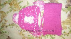 Детская зимняя шапочка с шарфиком на 1-2 годика