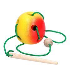 Игрушка шнуровка деревянная Яблоко KomarovToys