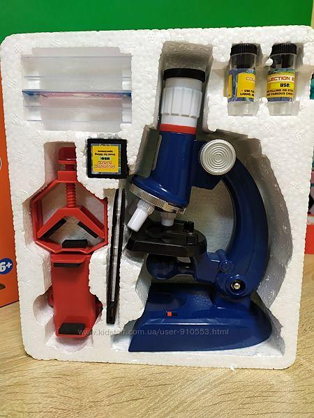 Детский микроскоп для школьников 450х с образцами и насадкой для фото