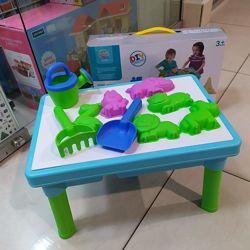 Песочница столик с крышкой и пасочками для игр с песком