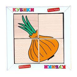Деревянные кубики. Сложи рисунок Овощи, Komarovtoys