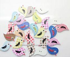 пуговицы для творчества и рукоделия птички и животные