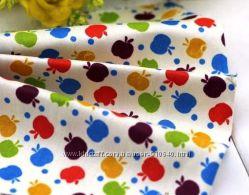 Ткань большие отрезы ягоды-фрукты, транспорт