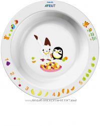 Маленькая глубокая тарелка Philips Avent SCF70600 белая с рисунком, 6 мес