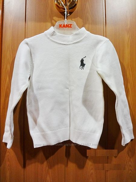 Модный свитер, новый , белоснежный, Ralph Lauren, копия бренда, 2-4 года, м