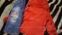 Весенняя Куртка на флисе на 3-4года, вязаная жилетка