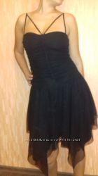 Шикарное черное платье 44 46 размер S M L