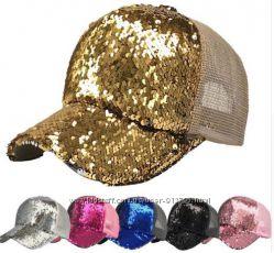 Кепка Бейсболка женская с двусторонней пайеткой кепка с пайетками