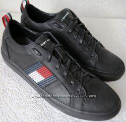 Супер Tommy Hilfiger идеальная реплика кожаные чёрные кеды Туфли мужские a99d03183af29