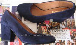 Nona женские качественные классические туфли замшевые синие взуття на кабл