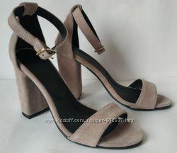 Viva лето женские стильные босоножки цвета латте каблук 10 см кожа замша