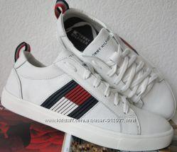 70e9a487c3c5 Стиль Tommy Hilfiger кожаные белые кеды Туфли мужские кроссовки ...