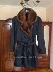 Зимняя куртка-плащ с норки и кролика