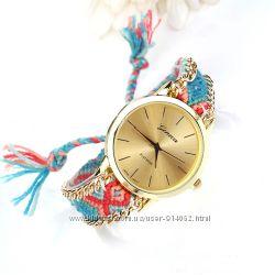 Часы Женева с плетеным ремешком ручной работы.