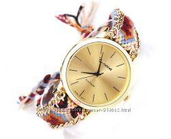 Часы Женева с плетеным ремешком ручной работы Подарок к 8 марта