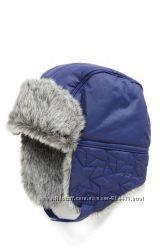 Темно-синяя стеганая шапка ушанка Next с узором в звездочку, 1-2 года