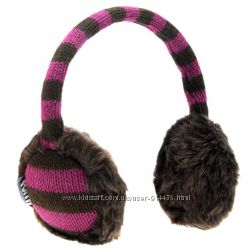 Теплые наушники женские Puffa, оригинал, фиолетовые с коричневым мехом