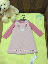 Утепленное платье и бодик с длинным рукавом новое Mothercare