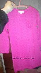 моднявая розовая туника 86-98 см с вышитыми розами на левой груди принцессы