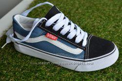Подростковые детские низкие кеды аналог Vans ванс синие  черные 31-37
