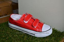 Детские подростковые кеды converse all star на липучках красные