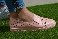 Женские мокасины слипоны кожа кожаные из кожи пудровые розовые
