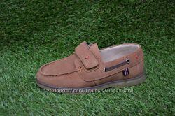 Детские туфли мокасины для мальчиков коричневые замша р32-37