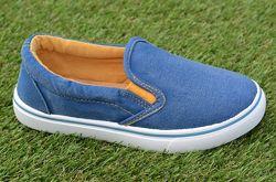 Детские слипоны мокасины кеды джинсовые синие р32-37