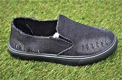 Детские слипоны мокасины кеды джинсовые черные р32-37