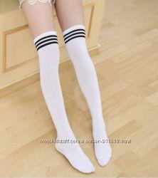 Гольфы женские  подростковые полосатые спортивные футбольные высокие носки
