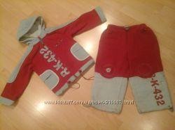 спортивный костюм красного цвета на рост 104 см4-6 лет. coccobello