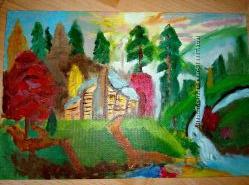 картина маслом домик в лесу