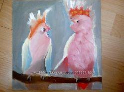 картина маслом розовые попугайчики