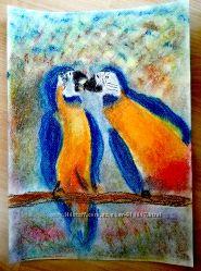 картина пастель ара попугай