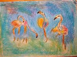 картина пастель фламинго